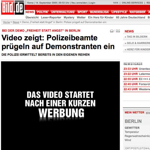 """Polizeiübergriff bei Demo """"Freiheit statt Angst"""" 2009"""